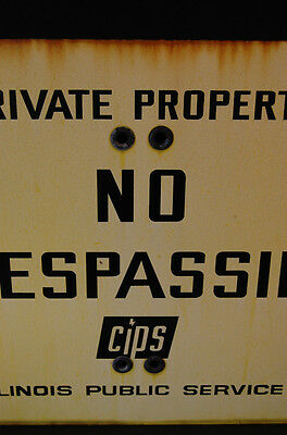 LARGE Industrial Antique Porcelain Enameled No Trespassing Private Property Sign 4