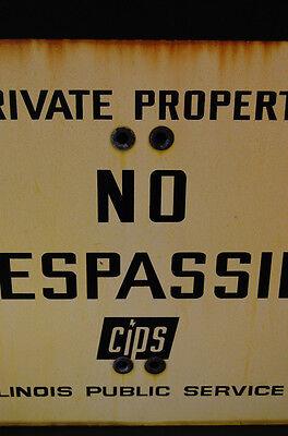 LARGE Industrial Antique Porcelain Enameled No Trespassing Private Property Sign 4