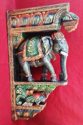 "Elephant Peacock Wall Bracket 24"" Corbel Pair Painted Wooden Sculpture Statue US 3"
