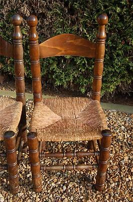 Smashing Pair of Chunky Pine Kitchen Chairs with Rattan Seats 9