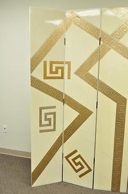 Artmax Decorator Greek Key Hollywood Regency Style 4 Panel Screen Room Divider