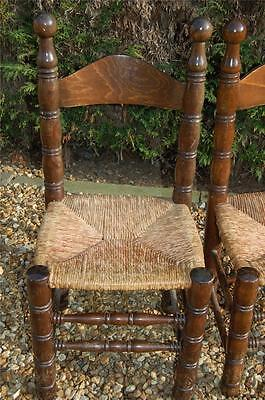 Smashing Pair of Chunky Pine Kitchen Chairs with Rattan Seats 8