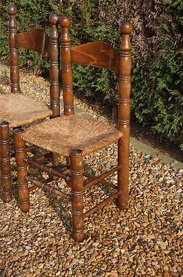 Smashing Pair of Chunky Pine Kitchen Chairs with Rattan Seats 7