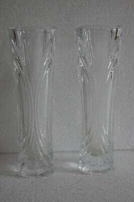 A Lovely Pair Of Clear Glass Bud Vases. 3