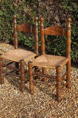 Smashing Pair of Chunky Pine Kitchen Chairs with Rattan Seats 6