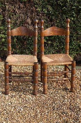 Smashing Pair of Chunky Pine Kitchen Chairs with Rattan Seats 3