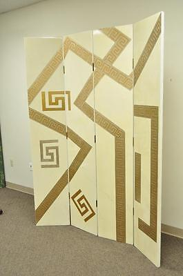 Artmax Decorator Greek Key Hollywood Regency Style 4 Panel Screen Room Divider 2
