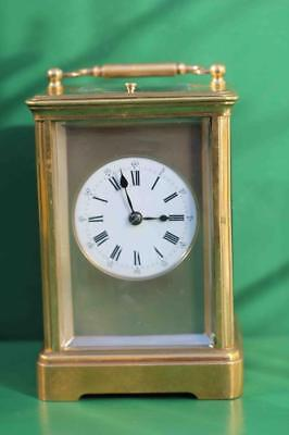 Antique French 8 Day Repeater With Silvered Mask Dial Carriage  Clock 2