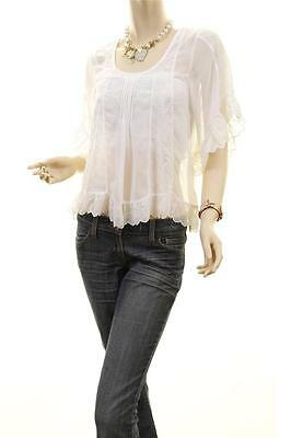 Victorian Faux Silk Sheer Chiffon Embroidered Lace Trim Peasant Blouse Shirt Top 4