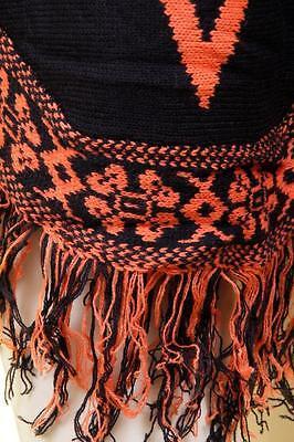 Celebrity Women Aztec Tribal Knit Poncho Fringe Pullover Sweater Top Coat S M L