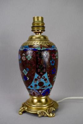 Antique 19th.C French Cloisonne Enamels Lamp Base Working Order ! 7
