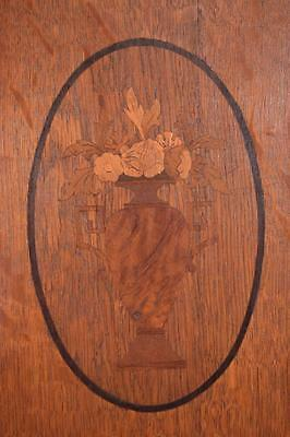 *Pair of Antique French Inlaid Marquetry Solid Oak Panels with Urns 5