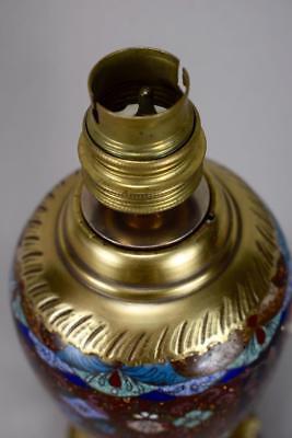 Antique 19th.C French Cloisonne Enamels Lamp Base Working Order ! 11