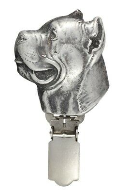 Cane Corso - silver plated clipring with image of a dog in box, Art Dog UK 3