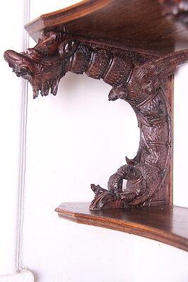 19C French Carved Oak Winged Griffin/Gargoyle/Dragon Wall Shelf 7