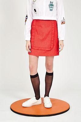 The Whitepepper Hipster Ruffle Detail Oversize Denim Jacket Red