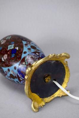 Antique 19th.C French Cloisonne Enamels Lamp Base Working Order ! 12