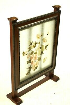 Vintage Mahogany and Hand Painted Glass Fire Screen [5500] 4