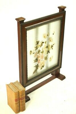 Vintage Mahogany and Hand Painted Glass Fire Screen [5500] 6