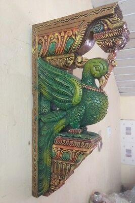 Wooden Bracket Temple Corbel Pair Peacock Parrot Architectural Bird Wall bracket 4