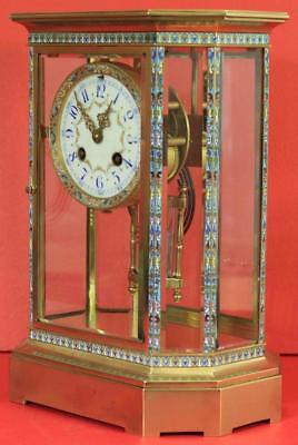Rare Japy Freres 8 Glass Cloisonne Antique French Crystal Regulator Mantle Clock 6