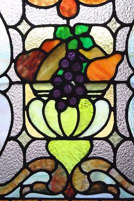 Pair Of American Stained Glass Windows With Fruit Basket Detail, 1910 5