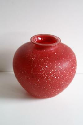 Red With White Specks Bulbous Glass Vase. 3
