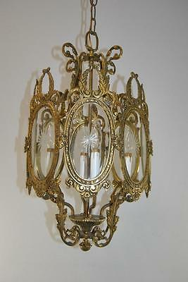 Antique Bronze Chandelier With 4 Candle Light Sockets & 8 Etched Glass Panels 3