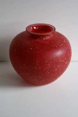 Red With White Specks Bulbous Glass Vase. 2