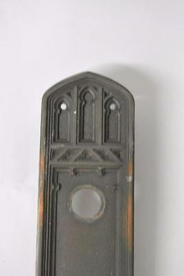 Antique Gothic Revival Cast Brass Door Pull Plate 2