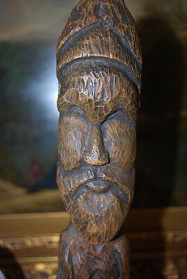 Wonderful Large Hand Carved Figure Of An Native Man With A Beard In Natural Wood 10