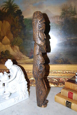 Wonderful Large Hand Carved Figure Of An Native Man With A Beard In Natural Wood 4