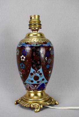 Antique 19th.C French Cloisonne Enamels Lamp Base Working Order ! 3