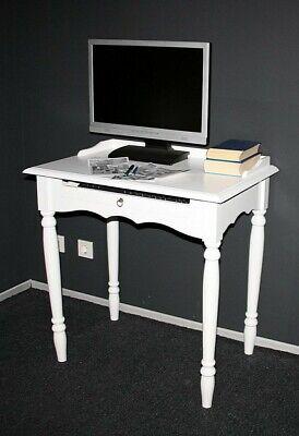 Sekretär Mit Tastaturauszug Computertisch Pc Tisch Holz Massiv Weiß