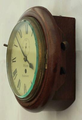 "Rare Miniature Antique English Mahogany 8 Day 7"" Fusee Dial Clock Webb Sandgate 6"