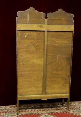 French Display Cabinet Double Bent Glass Doors Carved   Fleur De Lies