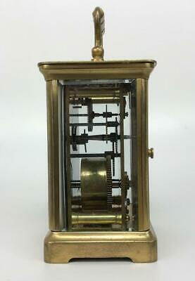 Antique 19thC French Brass Glass Carriage Officers Clock +Key HENRI JACOT (Attr) 4
