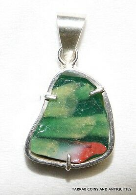 Ancient Romano -  Egyptian Mosaic Glass Fragment Silver Mounted Pendant! Nice !