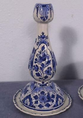 Antique Porceleyne Fles Delft Candlesticks Tin Glazed Faience Dated 1951 4