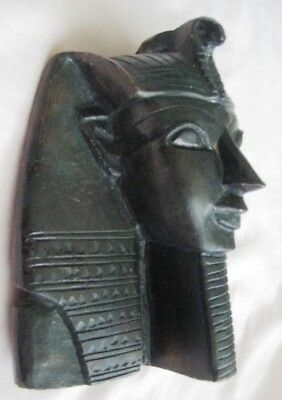 "Antique Egyptian Head of King Tutankhamen Plaster Sculpture 6 1/4""HX5 1/4""WX3"" D 4"