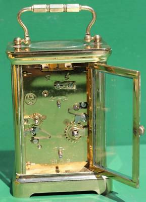 Vintage French L'epee 8 Day Alarm Carriage Clock Corniche Case 5