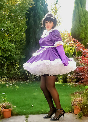 Royal Blue Satin /& Organza French Maid Uniform Lockable /& available in 6 colour