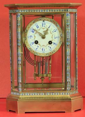 Rare Japy Freres 8 Glass Cloisonne Antique French Crystal Regulator Mantle Clock 2