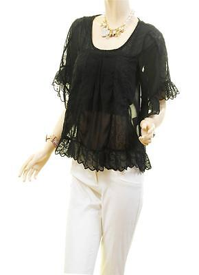 Victorian Faux Silk Sheer Chiffon Embroidered Lace Trim Peasant Blouse Shirt Top 9