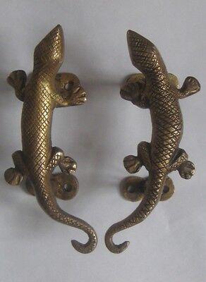 """Lizard Brass Door Handle 5.5"""" - Nepal"""
