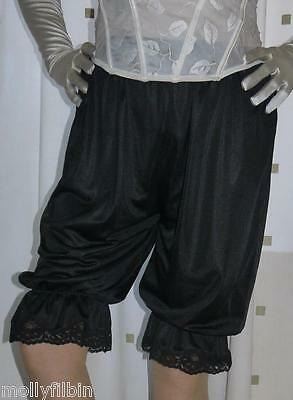 Vintage inspired nylon red Victorian~Edwardian style black bloomers~culottes