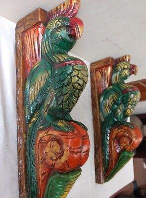 Hand carved Eagle Wooden Wall Corbel Bracket Pair Bird Sculpture Art Decor Rare 6