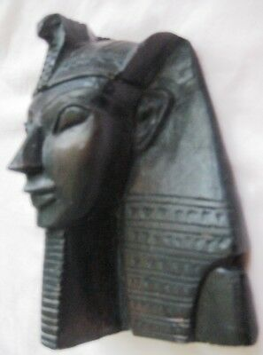 "Antique Egyptian Head of King Tutankhamen Plaster Sculpture 6 1/4""HX5 1/4""WX3"" D 3"