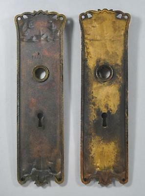 Antique Art Nouveau Corbin Brass Lockset Knobs / Handles Plate #09357 2