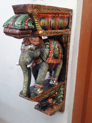 "Elephant Peacock Wall Bracket 24"" Corbel Pair Painted Wooden Sculpture Statue US 8"